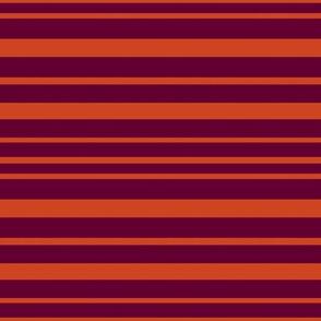Horizontal Orange and Maroon Stripes