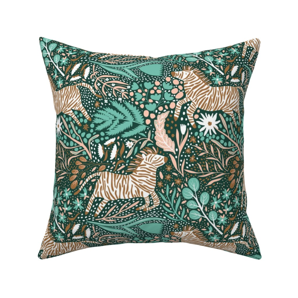 Catalan Throw Pillow featuring Zebra Kingdom - Limited Color Palette Challenge - 2019 by scarlette_soleil