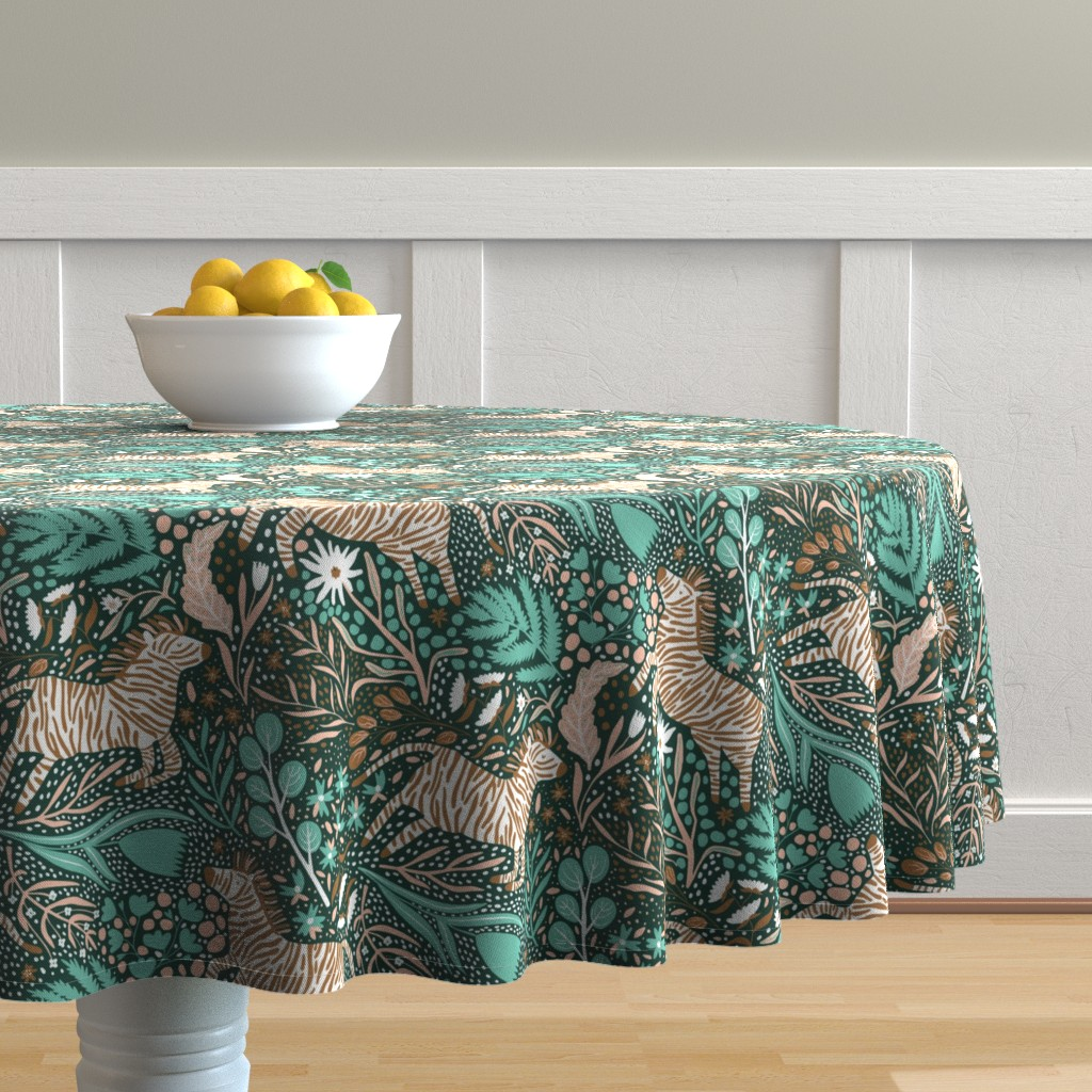 Malay Round Tablecloth featuring Zebra Kingdom - Limited Color Palette Challenge - 2019 by scarlette_soleil