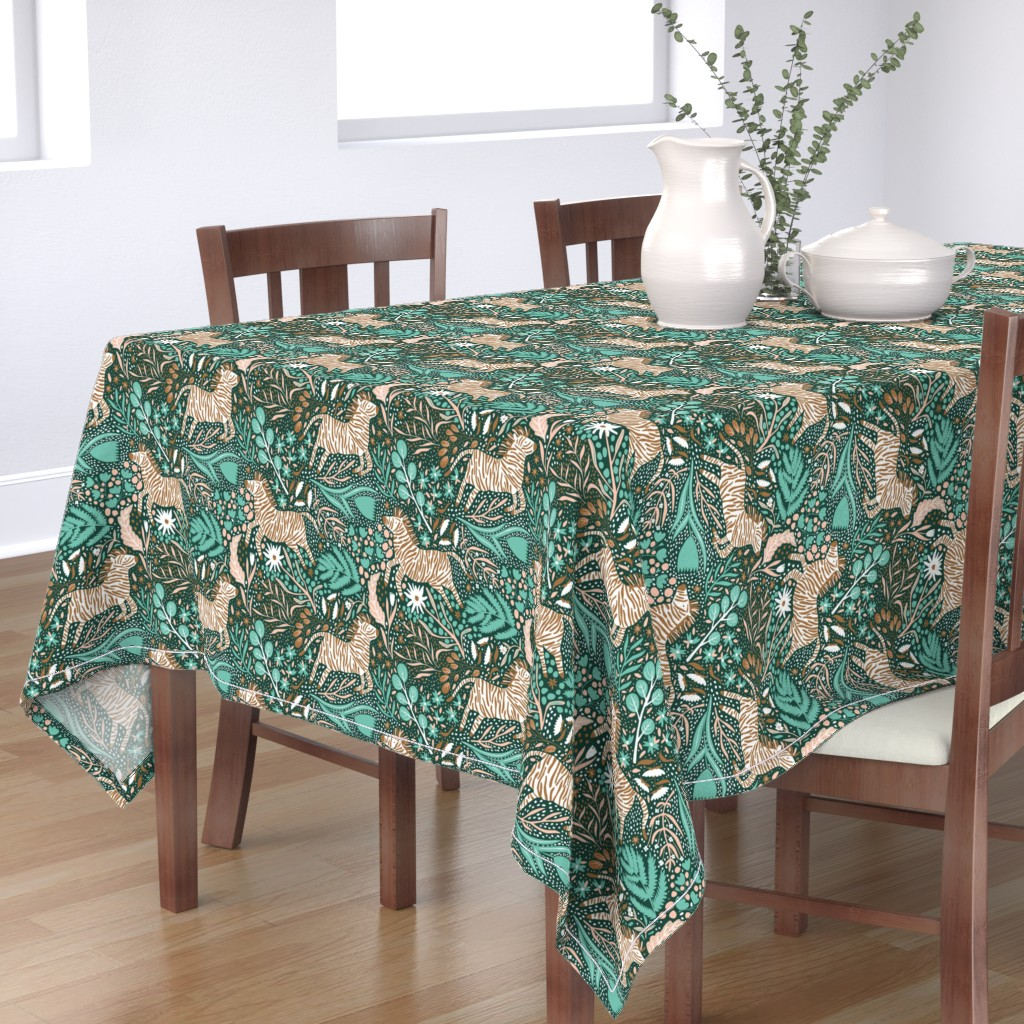 Bantam Rectangular Tablecloth featuring Zebra Kingdom - Limited Color Palette Challenge - 2019 by scarlette_soleil