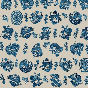 Blue Chinoiserie Peacocks on Taupe