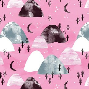 The hills little enchanted forest mountains stars and sky and new moon pink maroon girls