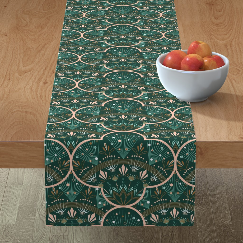 Minorca Table Runner featuring art deco by cleorie_designs