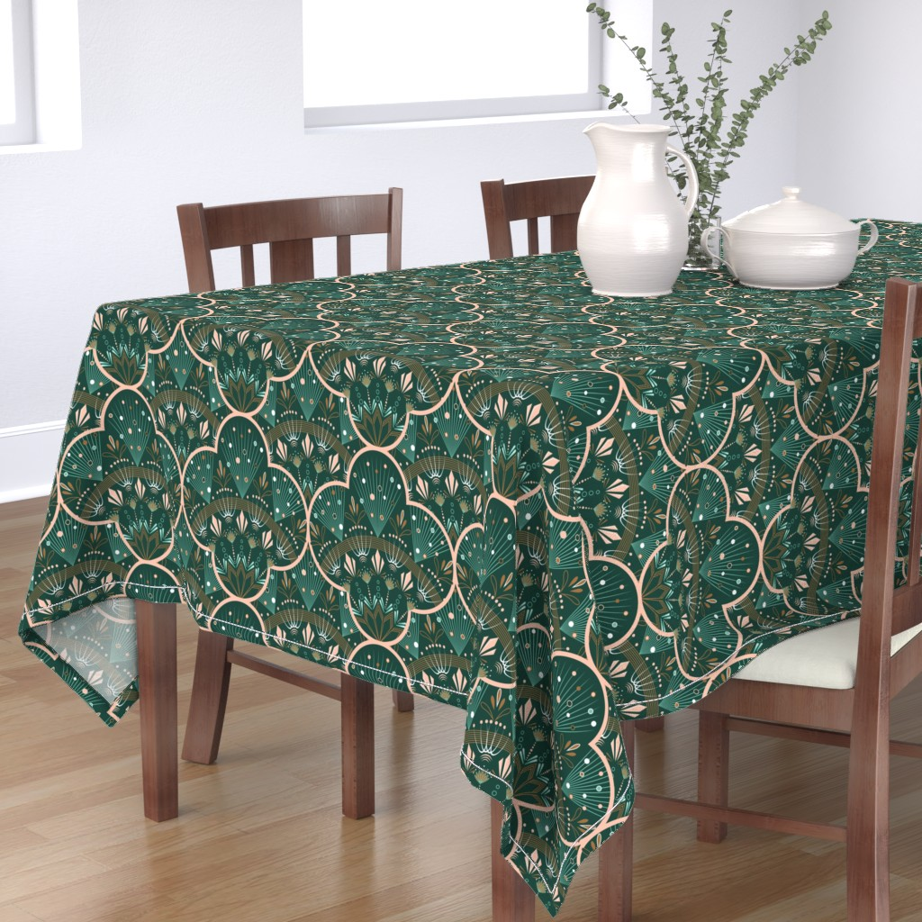 Bantam Rectangular Tablecloth featuring art deco by cleorie_designs