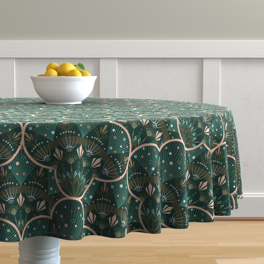 Malay Round Tablecloth featuring art deco by cleorie_designs