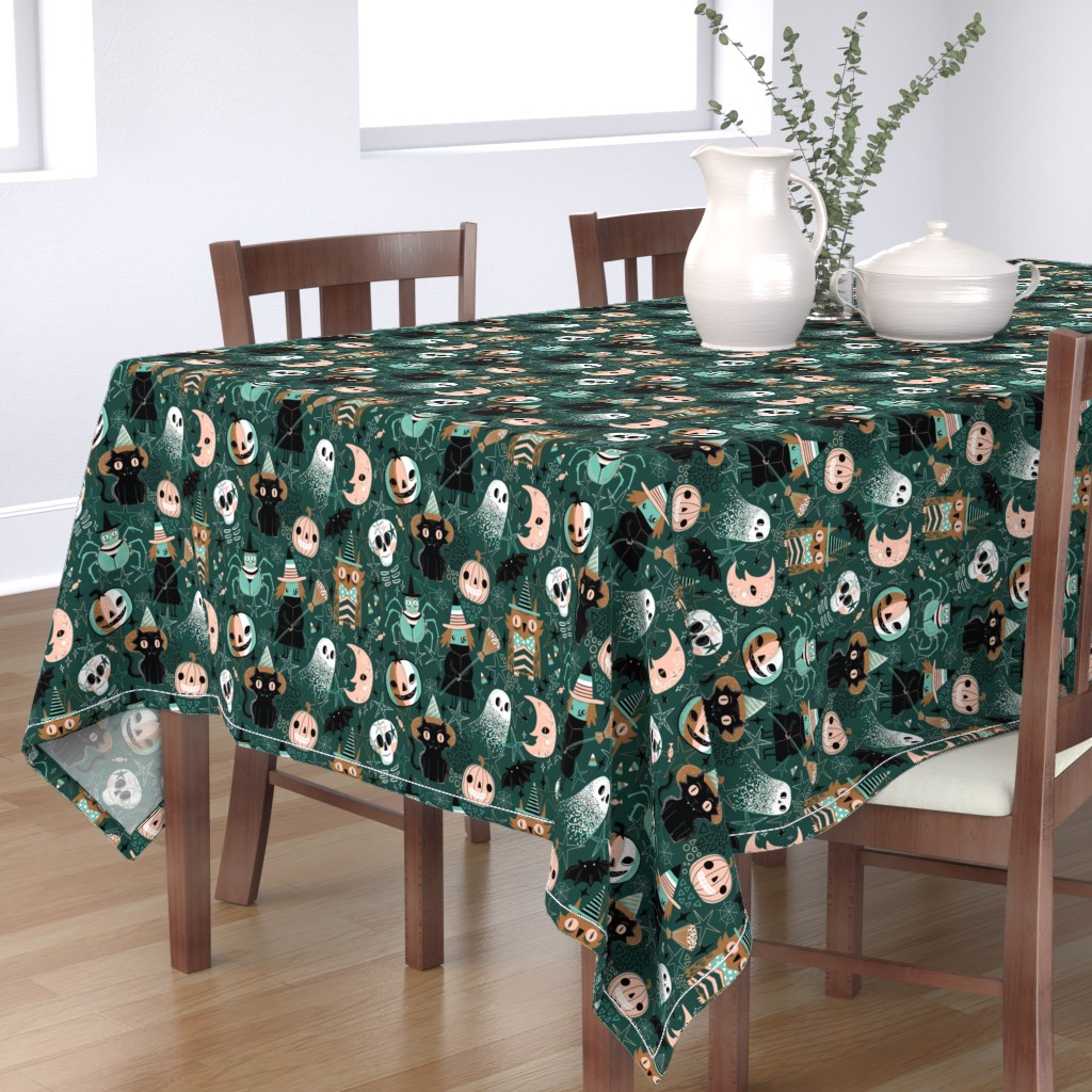 Bantam Rectangular Tablecloth featuring Hello Halloween! by kostolom3000