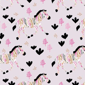 Rainbow zebra friends paper cut flowers and animals in meadow mauve pink girls