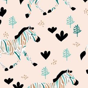 Rainbow zebra friends paper cut flowers and animals in meadow beige blue boys