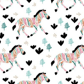 Rainbow zebra friends paper cut flowers and animals in meadow pink blue white summer