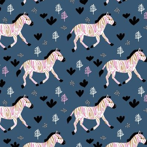 Rainbow zebra friends paper cut flowers and animals in meadow winter night blue pink