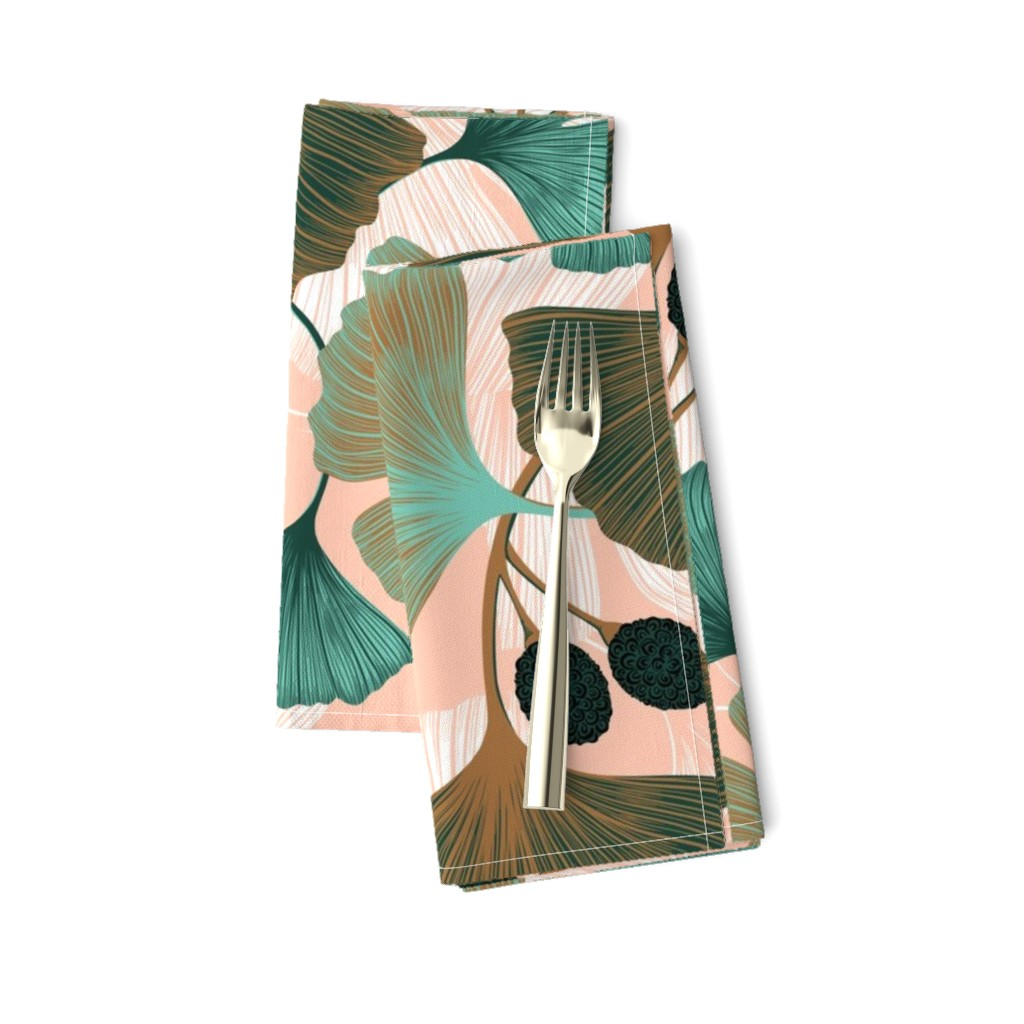 Amarela Dinner Napkins featuring Ginkgo Leaves - Spring Rose & Spearmint  by new_branch_studio