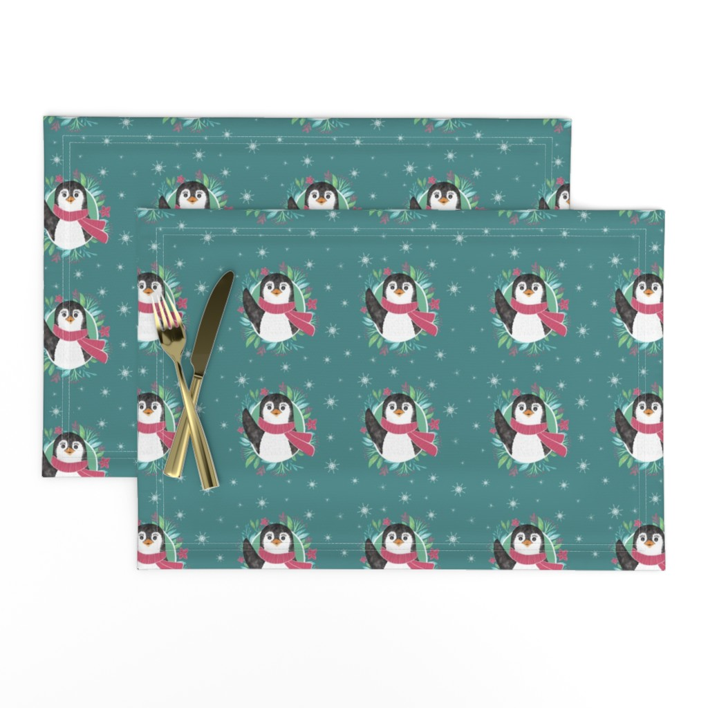 Lamona Cloth Placemats featuring cuddly penguin waves by lzcathcart