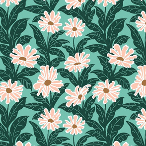 Pink Daisies in Green Foliage Limited Palette