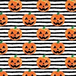Jack-o'-lantern - halloween pumpkins - watercolor on stripes - LAD19