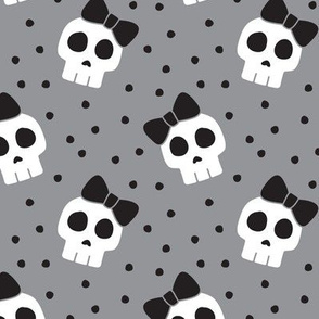 skulls with bows - halloween - grey w/ black bows - LAD19