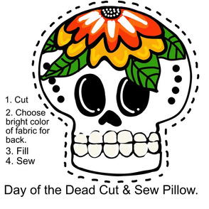 Day of the Dead Cut & Sew Pillow