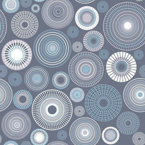 concentric circles | grayish blue and white