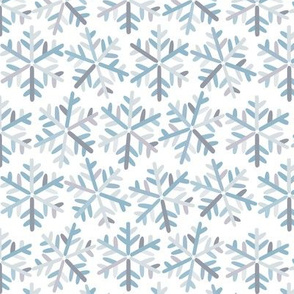 snowflakes grey and blue
