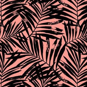 Brush palm leaves – black on bright coral