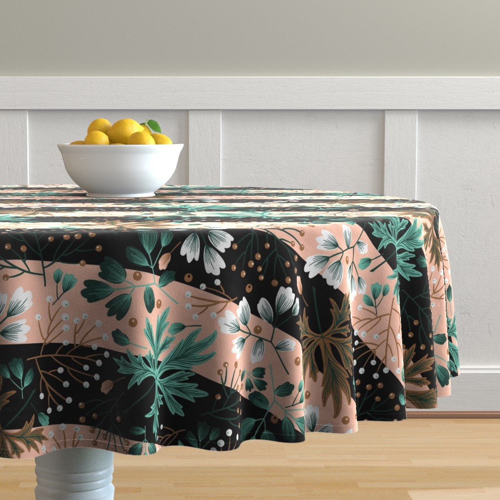 Malay Round Tablecloth featuring Parisienne Foliage in Pink and Black by denise_ortakales