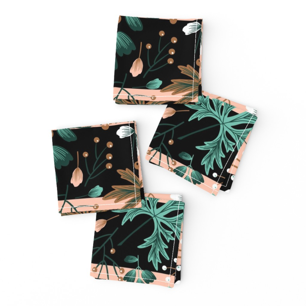 Frizzle Cocktail Napkins featuring Parisienne Foliage in Pink and Black by denise_ortakales