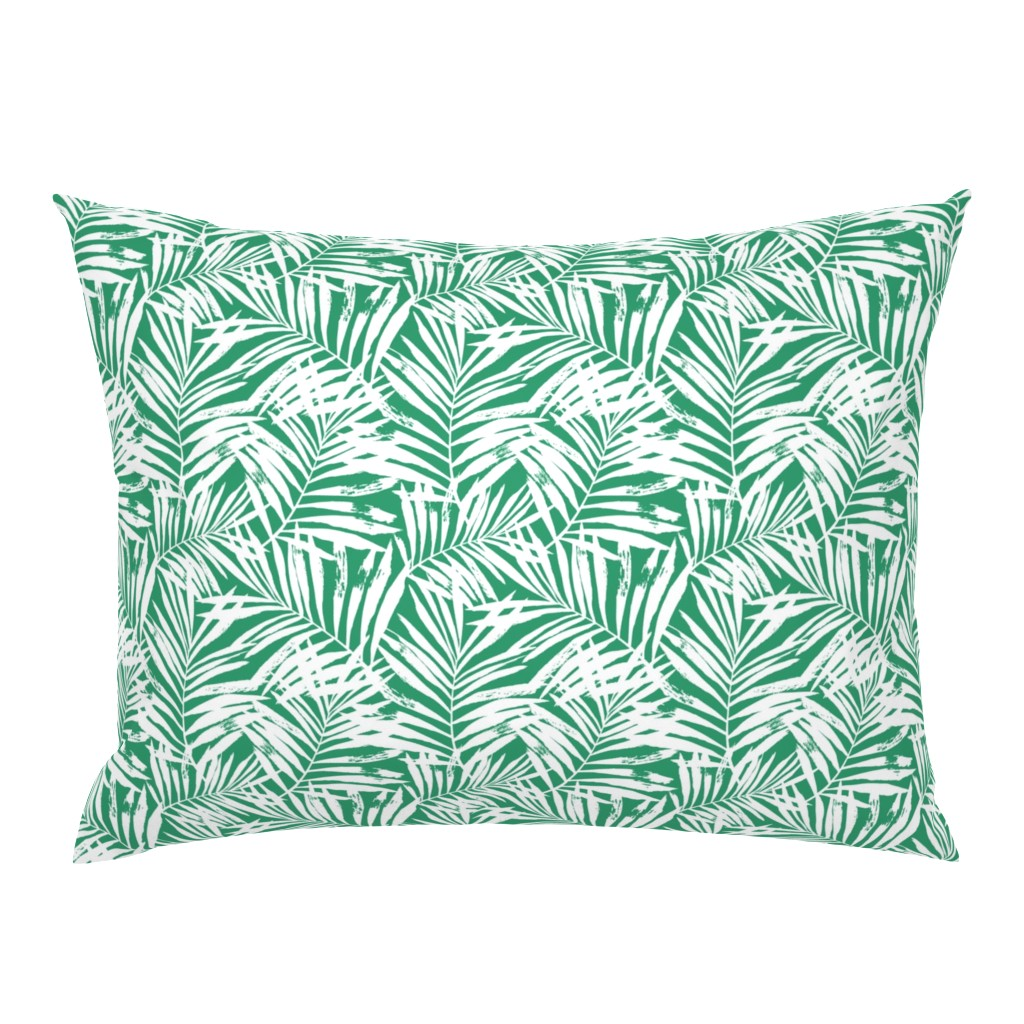 Campine Pillow Sham featuring Brush palm leaves – white on bright green by mirabelleprint