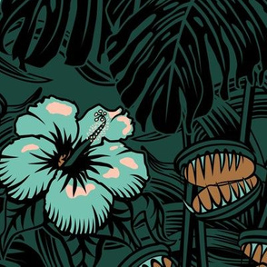 ★ TROPICAL NIGHT ★ Carnivorous Plant, Hibiscus & Monstera / Limited Palette : Mint + Rose + Bronze + Forest, Large Scale / Collection: It's a Jungle Out There – Savage Hawaiian Prints