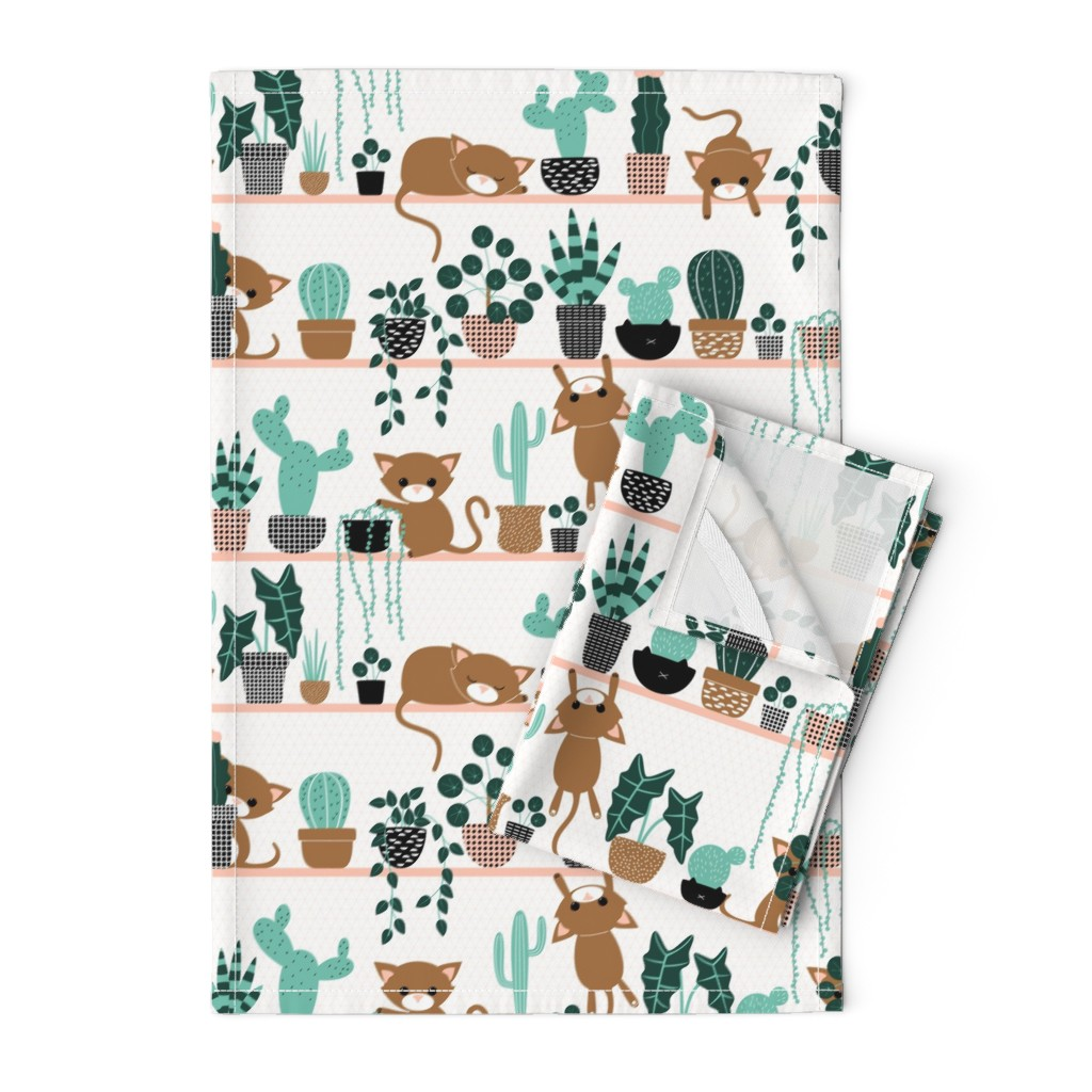 Orpington Tea Towels featuring cats and plants by heleenvanbuul
