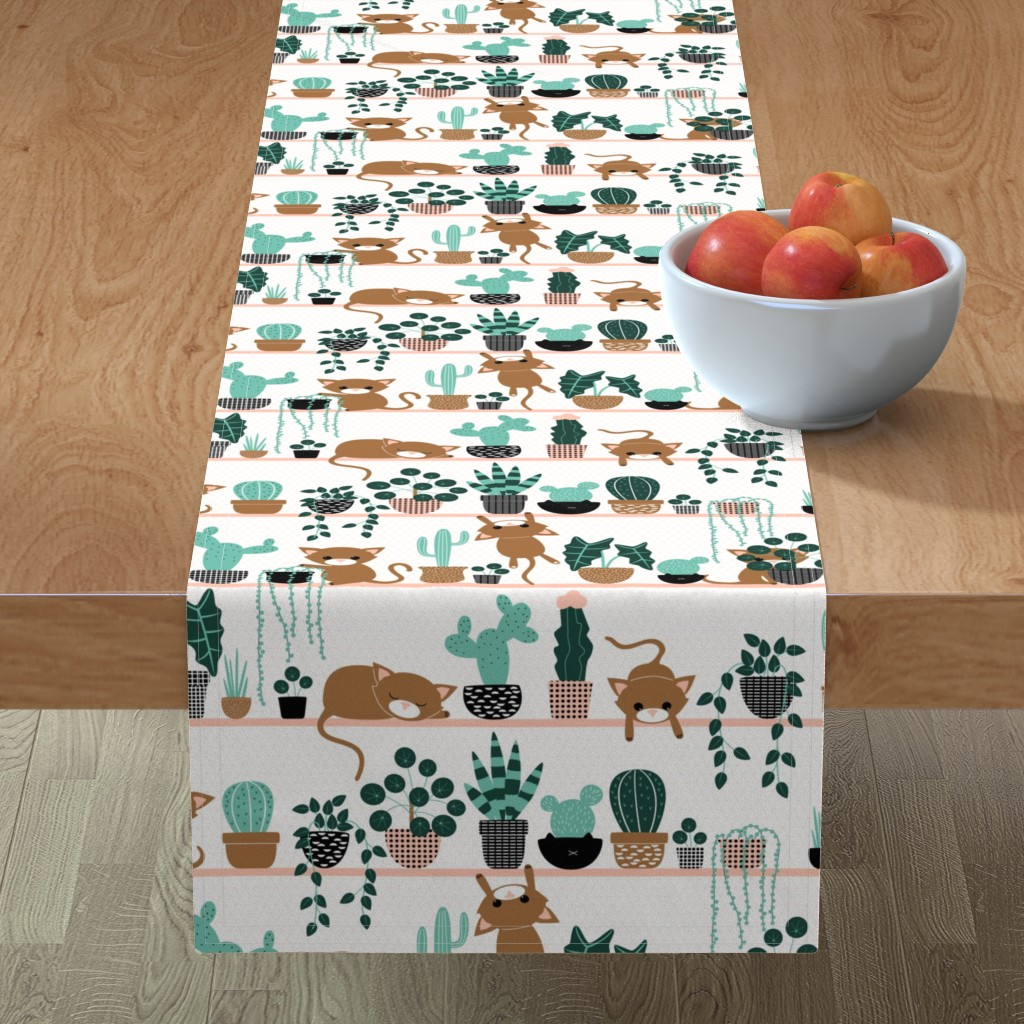 Minorca Table Runner featuring cats and plants by heleenvanbuul