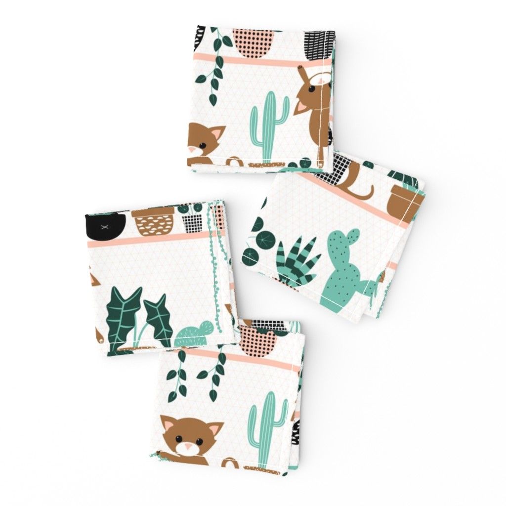 Frizzle Cocktail Napkins featuring cats and plants by heleenvanbuul