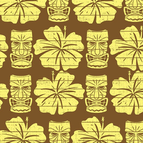 Tiki and Hibiscus (Brown and Yellow)