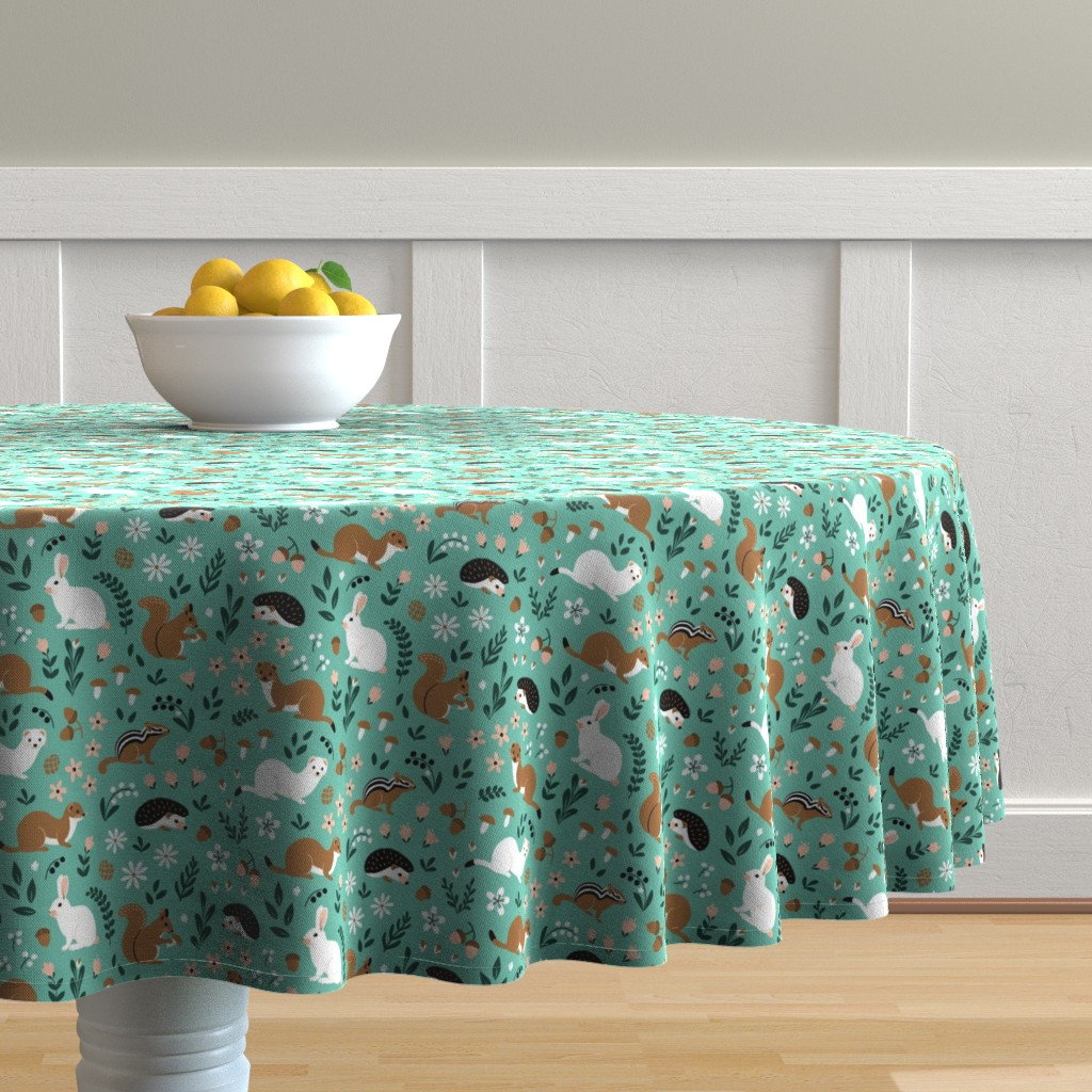 Malay Round Tablecloth featuring Forest Life on mint by nadyabasos