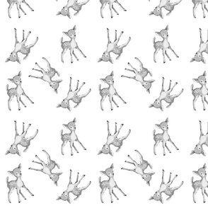 Fawn in grayscale repeat