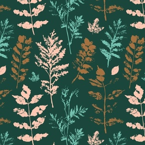 botanical print - large scale autumn floral leaves graphics