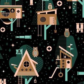 Limited Palette Midnight Tree House Adventure // © ZirkusDesign  Stargazing in the Woods // Trees, Owls, Lanterns, Mid-Century Modern, Architecture, Telescopes, Binoculars, Pirate Flags, Forest, Rope Ladder, Tire Swing, Slide, Stars, Planets, Spyglass
