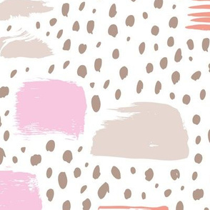 Strokes dots cross and spots raw abstract brush strokes memphis scandinavian style taupe beige coral pink
