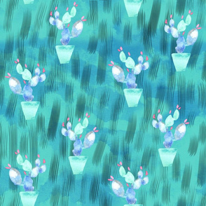 19-10a Blue pink Cactus Succulent Green Abstract Southwest