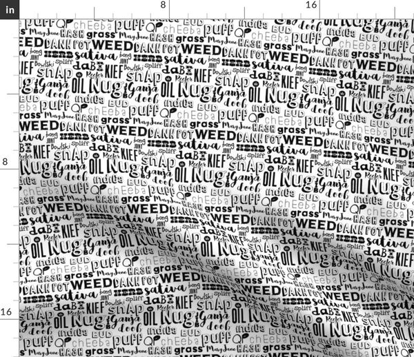 Fabric by the Yard Cannabis word collage