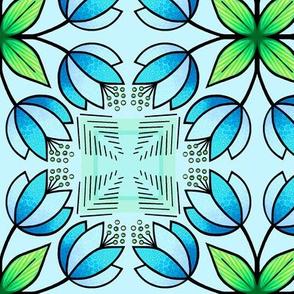 Tulip squares - blue, green