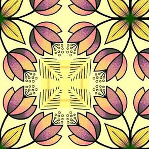 Tulip squares - yellow, purple
