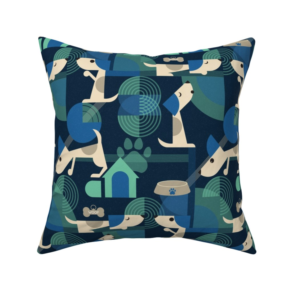 Catalan Throw Pillow featuring Bow-wow haus by roofdog_designs