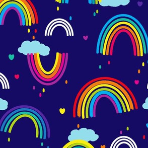 Painted Rainbows - Medium Print - Blue