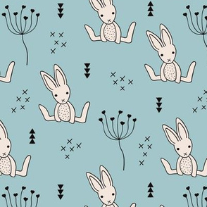 Adorable baby hare bunny geometric scandinavian style rabbit for kids gender neutral cool blue autumn collection