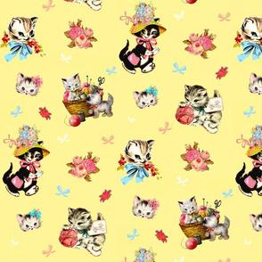 vintage kitty art card mix / retro yellow