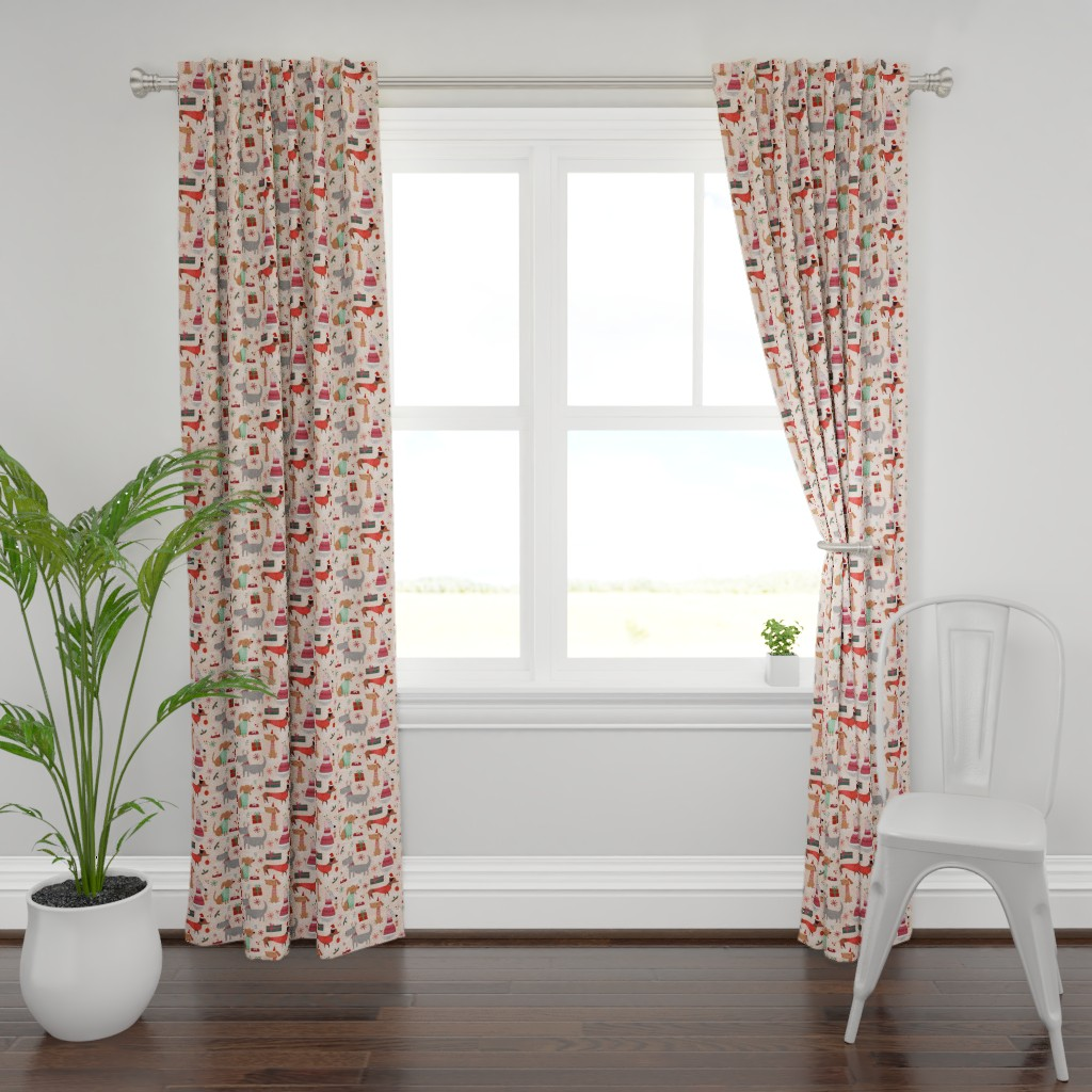 Plymouth Curtain Panel featuring Christmas woofs by gkumardesign