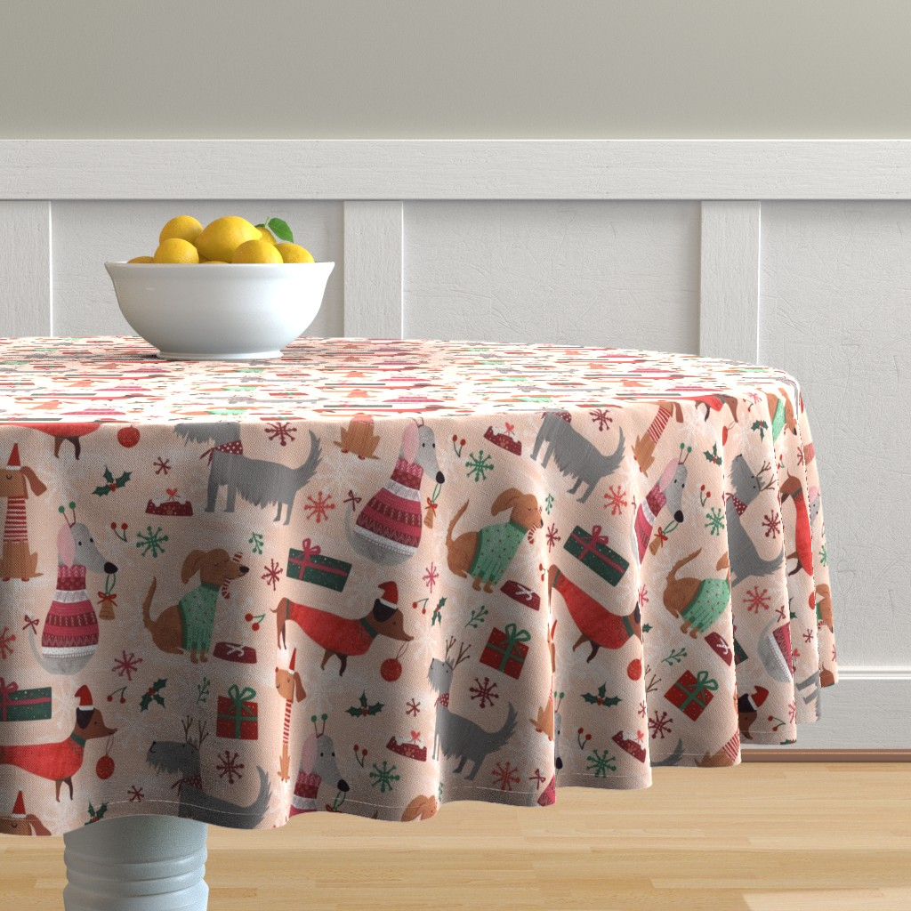 Malay Round Tablecloth featuring Christmas woofs by gkumardesign