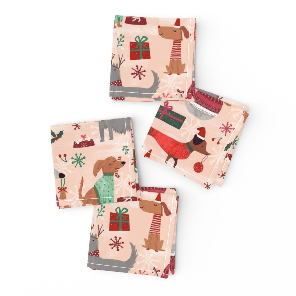 Frizzle Cocktail Napkins featuring Christmas woofs by gkumardesign