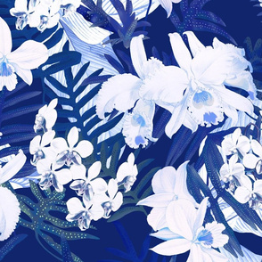 Vintage White Orchids II Navy 300