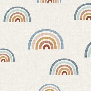 French linen rainbows scattered rainbows bright gender neutral unisex kids