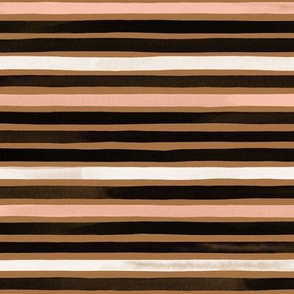 Small Miniature Watercolor Stripes Brown Rosé Multi by Friztin